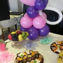 aranajment din baloane candy bar, aranjament din baloane mese botez
