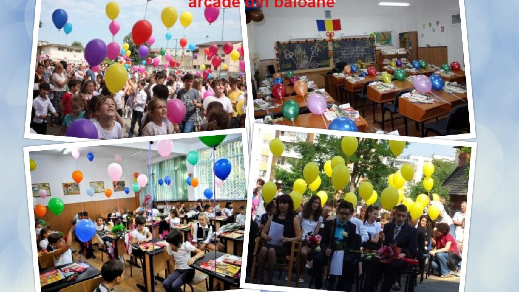 Baloane colorate pentru prima zi de scoala si festivitati
